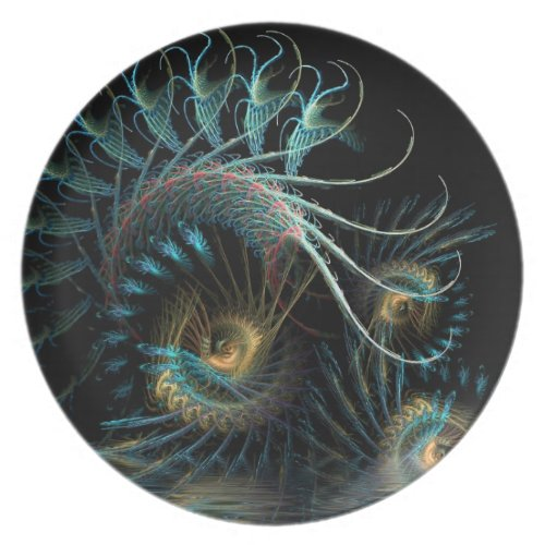 Aqua Shell Swirl Fractal Art Plate plate