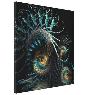 Aqua Shell Swirl Fractal Art Wrapped Canvas wrappedcanvas