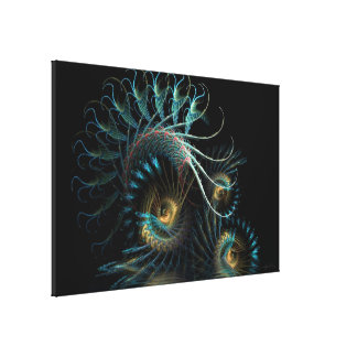 Aqua Shell Swirl Fractal Art Wrapped Canvas Canvas Print