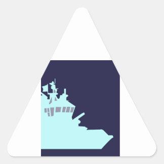 Aqua Ship in Navy Blue background. Triangle Sticker