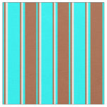 [ Thumbnail: Aqua, Sienna, and Beige Lined Pattern Fabric ]