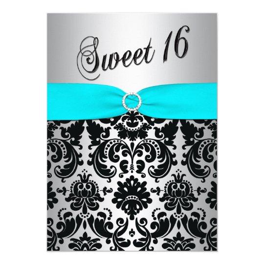 Aqua, Silver, and Black Damask Sweet 16 Invitation