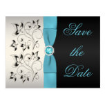 Aqua, Silver, and Black Floral Save the Date Postcards