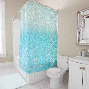 Aqua Silver Beach Blue Summer Glitter Gradient Shower Curtain