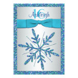 Aqua, Silver, Blue Snowflake Birthday Invitation
