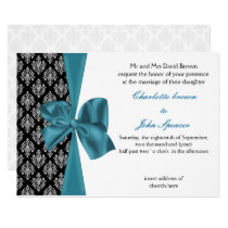 aqua silver damask  wedding Invitation cards