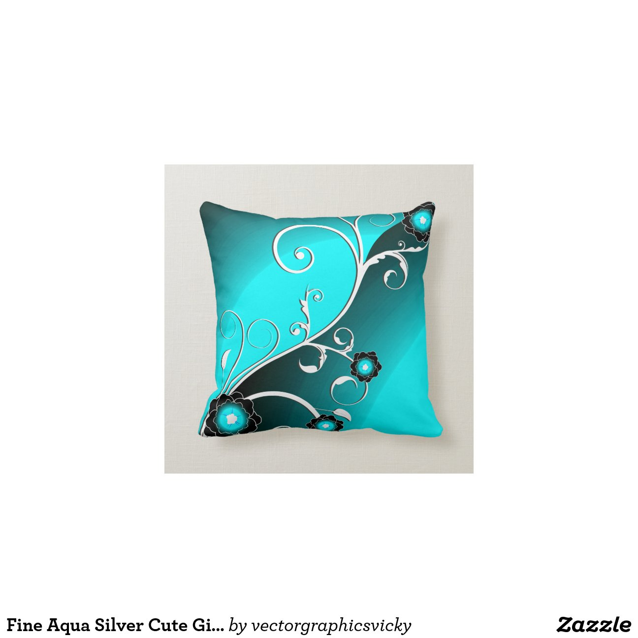 Aqua Silver Floral Vector Pattern Throw Pillows Zazzle