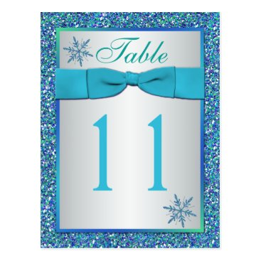 Aqua Silver Green Snowflakes Table Number Card