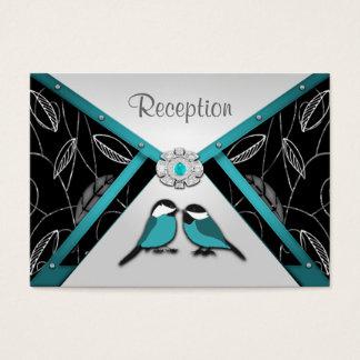 Aqua & Silver  Love Birds Wedding Reception Cards