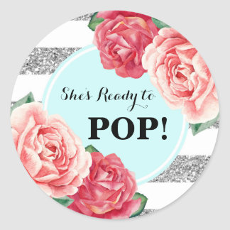 Aqua Silver Pink Floral Baby Shower Ready to Pop Classic Round Sticker