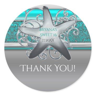 Beach Themed Aqua & Silver Starfish Beach Party Favor Classic Round Sticker
