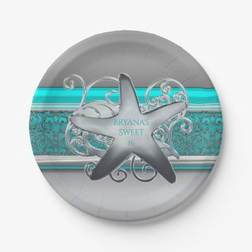 Beach Themed Aqua & Silver Starfish Beach Party Reception Paper Plate