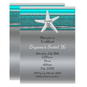 Beach Themed Aqua & Silver Starfish Beach Sweet 16 Invitations
