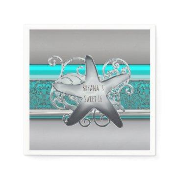 Beach Themed Aqua & Silver Starfish Elegant Beach Party Paper Napkin
