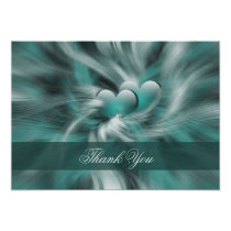 aqua silver Thank You Card