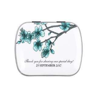 Aqua Simple Cherry Blossoms Candy Tin