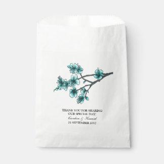 Aqua Simple Cherry Blossoms Favor Bags