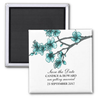 Aqua Simple Cherry Blossoms Save the Date Magnet