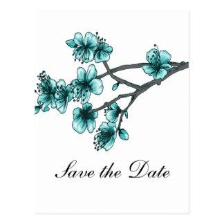 Aqua Simple Cherry Blossoms Save the Date Postcard
