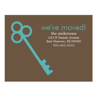 Aqua Skeleton Key Moving Announcements Post Card
