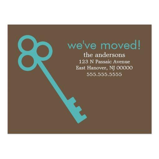 Aqua Skeleton Key Moving Announcements Post Card