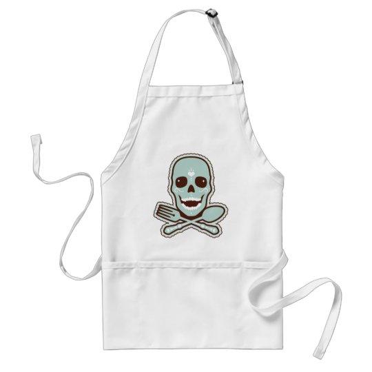 Aqua Skull & Flatware Adult Apron