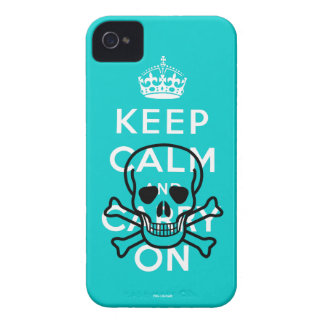 Aqua Skull Keep Calm and Carry On iPhone 4 Case