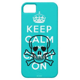 Aqua Skull Keep Calm and Carry On iPhone 5 Case