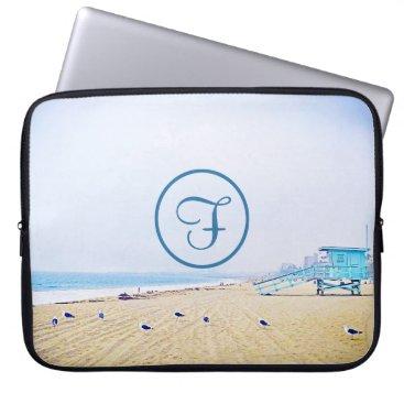 Beach Themed Aqua sky beach photo custom monogram laptop sleeve