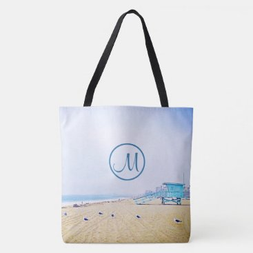 Beach Themed Aqua sky beach photo custom monogram tote bag
