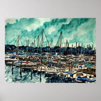 aqua sky sailing sail boats canvas art print
