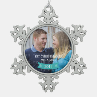Aqua Snowflake Banner Holiday Photo Ornament