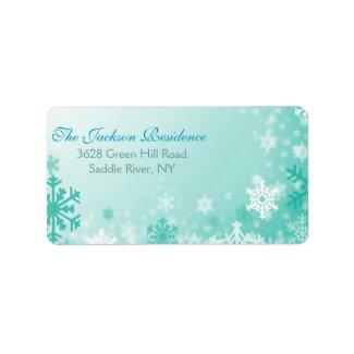 Aqua Snowflake Christmas Address Label label