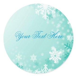Aqua Snowflake Christmas Envelope Sticker/seal sticker