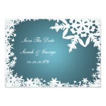 aqua snowflake save the date announcement