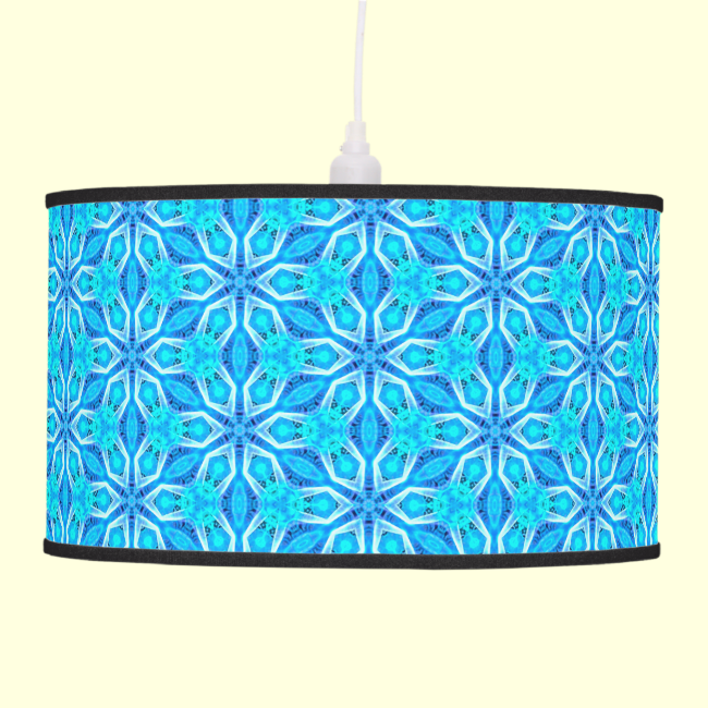 Aqua Snowflakes Abstract Spinning in Winter Pendant Lamps