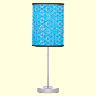 Aqua Snowflakes Abstract Spinning in Winter Table Lamp