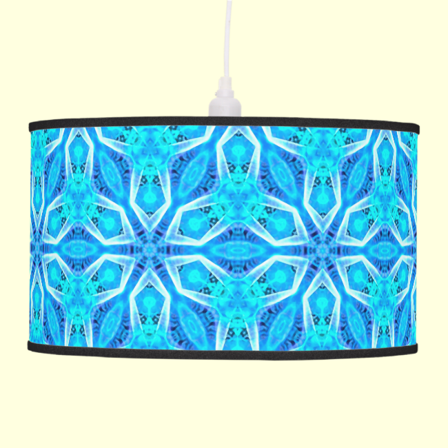 Aqua Snowflakes Abstract Spinning in Winter Hanging Pendant Lamps