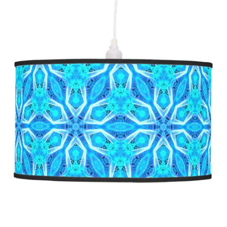 Aqua Snowflakes Abstract Spinning in Winter Pendant Lamp