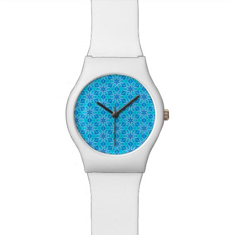 Aqua Snowflakes Abstract Spinning in Winter Wristwatch