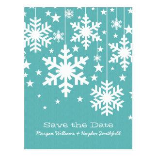 Aqua Snowflakes and Stars Save the Date Postcard