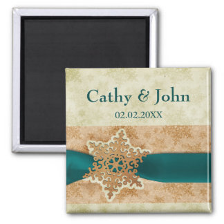 aqua snowflakes save the date magnets