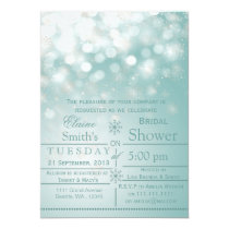 aqua snowflakes Winter Bridal shower Invite