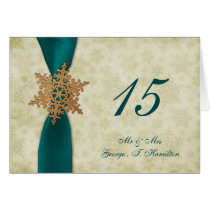aqua snowflakes winter wedding table seating card