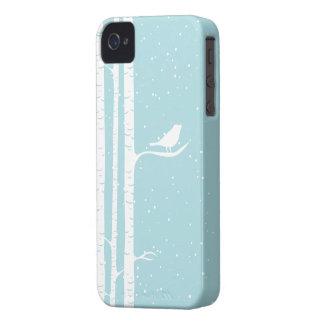 Aqua Snowy Birch Trees Case-Mate iPhone 4 Cases