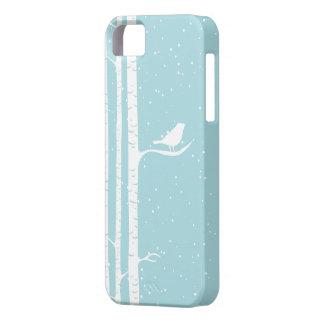 Aqua Snowy Birch Trees iPhone SE/5/5s Case