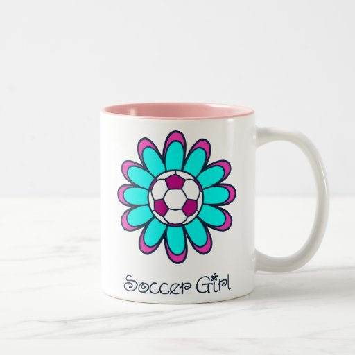 Aqua Soccer Girl Coffee Mugs