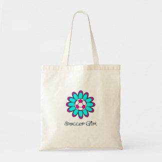 Aqua Soccer Girl Tote Bag