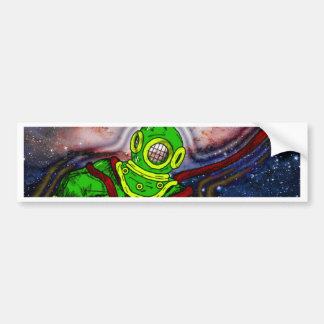 Aqua Space Man Bumper Sticker
