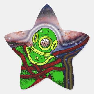 Aqua Space Man Star Sticker